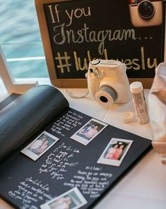 An instant camera, glue stick, and scrapbook make an instant memory and creative alternative as a wedding guestbook