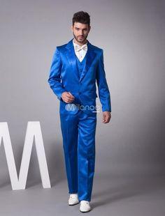 Latest Coat Pant Designs Royal Blue Satin Tuxedo Men Suit Slim Fit 3 Piece Blazers Custom Groom Show Prom Suits Terno Masculino #mens3piecesuits