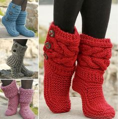 "Little Red Riding Slippers - Slippers with cables in Eskimo by DROPS designDIY Knit Slipper Boots Free Patterns by DROPS Design. My favorite: the Little Red Riding Hood Slippers. (via truebluemeandyou)These Knitted DROPS slippers with cables in ""Es Loom Knitting, Knitting Socks, Knitting Patterns, Crochet Patterns, Free Knitting, Knitted Socks Free Pattern, Loom Patterns, Crochet Slipper Boots, Knitted Slippers"