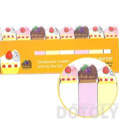 A packet of colorful food themed post-it bookmark tabs! Each packet contains sticky post it memo tabs in the shape of strawberry cakes in