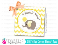 New from Partymazing on Etsy: Printable Thank You Tags Elephant Tags Tags Stickers Gift Tags Cupcake Toppers Yellow Elephant Baby Shower Collection D103 (5.00 USD) For more @partymazing