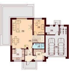 Rzut DN GALILEA BIS 2M (garaż dwustanowiskowy) CE House Plans, Floor Plans, How To Plan, Furniture, Mlb, Arquitetura, Houses, Future House, Sweet