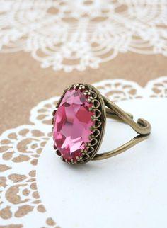 Rose Pink Crystal Cocktail Ring, Brass Adjustable Ring Swarovski Crystal Oval Stone Cocktail Ring Rose Gold Vintage Statement Ring