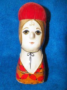 Vintage-Gemma-Taccogna-Style-Paper-Mache-Folk-Art-Doll-Pin-Cushion