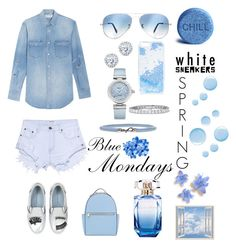 """Blue_Mondays"" by aliciak60 on Polyvore featuring One Teaspoon, Yves Saint Laurent, Chiara Ferragni, Ray-Ban, Skinnydip, Kobelli, OMEGA, Golden Goose, Topshop and Elie Saab"