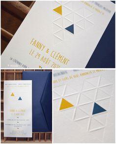 faire part de mariage sur mesure en letterpress moutarde et pétrole, cœur graphique Une réalisation merigond imprimeur, depuis 1910...
