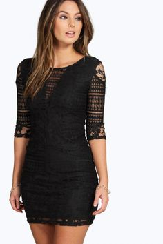 Fitted bodycon black lace dress 4ufashion.eu