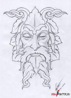 Как нарисовать скульптуру Зеленого Человека (Green Man)