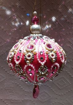 June Zimonick Rose/Pink Silk Pearl Loop Ornament with Jewels