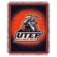 "Texas El Paso Miners NCAA Triple Woven Jacquard Throw (019 Focus) (48""x60"")"