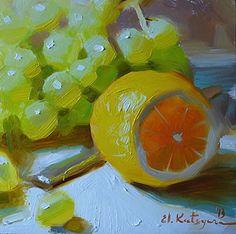 """""""Bright Fruit"""" - Elena Katsyura, oil on gesso board {still life fruit art painting}"""