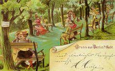 Postkarte, Berlin, 1900. In Ermangelung von Privatsphäre und prüder Sitten, musste man eben ausweichen und war dabei offensichtlich nicht allein.