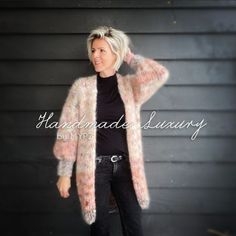 MYPZ-half-long-chunky-mohair-cardigan-Brown-Love-9 Knitting Kits, Knitting Patterns, Cardigans, Sweaters, Knitwear, Brown, Knit Patterns, Tricot, Sweater