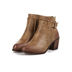 SheIn(sheinside) Brown Chunky Heel Buckle Strap Boots ($37) ❤ liked on Polyvore featuring shoes, boots, ankle booties, botas, sapatos, brown, brown ankle booties, pointy toe booties, vintage brown boots and pointed toe booties
