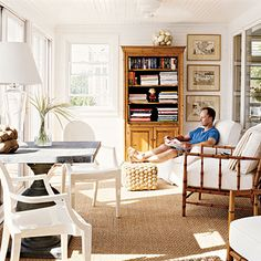 How to Decorating a Sunroom | 110-year-old summer cottage on a Maine island went from dark and ...