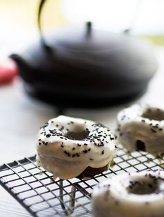 Black Sesame Doughnuts with the most amazing Caramel Miso Glaze. The doughnuts are great, but the glaze I could eat on everything!