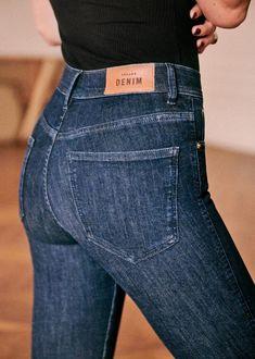 Sézane - The Perfect Slim Black Silk, Black N Yellow, Parfait, Indigo, Patchwork Jeans, Jeans Slim, Coton Biologique, Daily Look, Gift Ideas