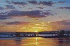 Lake Sunset Painting - Central Coast Sunset by Graham Gercken