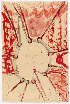 * Louise Bourgeois — Il pleut dans mon coeur (The Stretch 2008 Etching, watercolor, gouache and pencil on paper Louise Bourgeois Art, Gouache, Drawing For Beginners, Feminist Art, Gravure, Art Fair, Artist Art, American Artists, Portrait