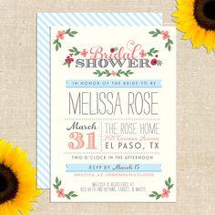 Whimsy Bridal Shower Invitation DIY PRINTABLE. $20.00, via Etsy.