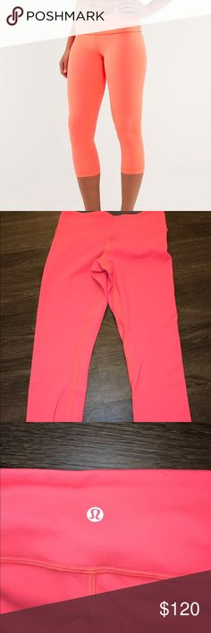 Reversible coral/grey lululemon crops size 4 Never been worn (but all tags off) reversible lululemon size 4 coral/grey crops lululemon athletica Pants Leggings