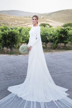 2018 New Country Wedding Dresses Long Sleeves Bateau Sheath Backless Court Train Dress For Bridal Gowns Vestidos De Noiva Cheap Customized Country Wedding Dresses, Modest Wedding Dresses, Boho Wedding Dress, Bridal Dresses, Wedding Gowns, Mermaid Wedding, Simple Dresses, Lace Wedding, Simple Elegant Wedding Dress