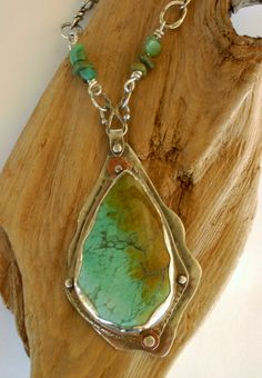 Sterling Silver Necklace Turquoise Bezel Pendant by rmddesigns,