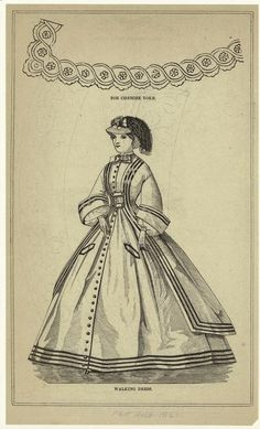 For chemise yoke ; Walking dress. 1862 Peterson's