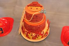 Cal's Fireman cake with gum paste ladder and flames