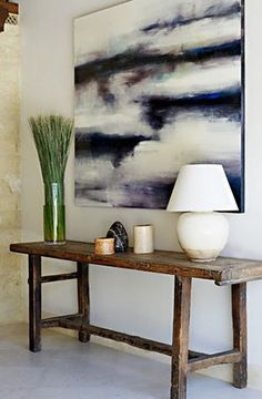 love that table rustic table entry with white/dark blue painting