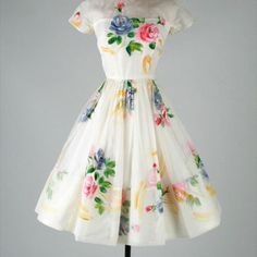 Vintage 1950's Ivory Organza Hand Painted Flowers Dress