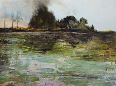 Annie Flynn. Pond Abstraction in Turquiose and Green