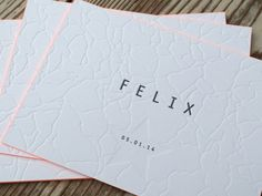 Birth Card for FELIX Proudly printed in neutral and black letterpress - Edge coloring orange - by www.letterpressgust.com