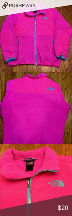 Girls Pink North Face Jacket Girls bright pink North Face Heavy Fleece Jacket. It says Polartec inside. It has turquoise blue zippers and pulls. Size 14/16. North Face Jackets & Coats