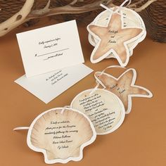 Guests will think you've been out beach combing when they receive this three-piece invitation in pretty shell shapes! The ecru cards are beautifully shaped and printed with soft, sandy colors. Print the starfish card with your first names, the sand dollar card with your invitation wording and the shell card with your reception wording. Tie the three cards together with the included 1/8' x 14' ecru ribbon. The pieces are microperforated for easy separation and clean edges; simply punch the…