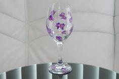 Handpainted Wine Glass Purple Butterflies Pink by HelensGiftStore, $15.95