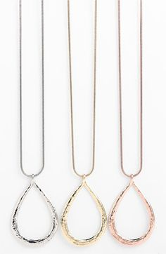 Nordstrom Long Hammered Teardrop Pendant Necklace available at Nordstrom