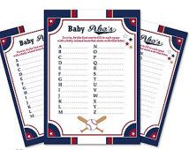 Boy Baseball Baby ABC's Game, guess Animals Printable Card for Baby Baseball  Shower DIY Navy Red Slugger - ONLY digital file - aa15bs15