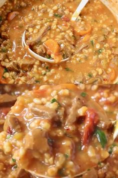 Hearty vegan beef stew with barley, tomatoes, veggies and beefy TVP or soy curls.  Enjoy all the classic flavors of your favorite stew without any of the fat and cholesterol, an oil free plant based recipe loaded with protein, flavor and healthy carbs. No beef! Vegan Beef Stew Recipe, Vegan Stew, Best Vegetarian Recipes, Best Gluten Free Recipes, Healthy Recipes, Weeknight Dinners, Lunches And Dinners, Starch Solution, Healthy Carbs