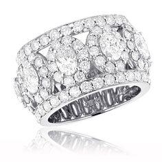 Anniversary Rings: Unique 18K Gold Custom Made Wide Diamond Wedding Band 6.55ct