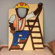 Construction Birthday Photo Booth Prop Face by LittleGoobersParty