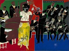 Empress of the Blues [Bessie Smith], acrylic, pencil, and paper collage by Romare Bearden, American artist and writer) African American Culture, African American Artist, American Artists, African Art, Bessie Smith, Romare Bearden, Jazz Art, Jazz Music, Black Artists