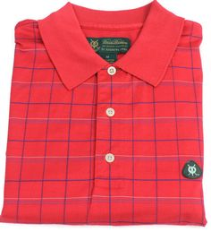 Brooks Brothers Polo Shirt Mens Size Medium St. Andrews Links Red Plaid Golf Sz #BrooksBrothers #PoloRugby