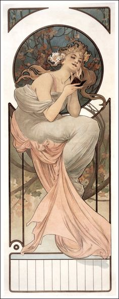 """Alphonse Mucha ~ Click through the large version for a full-screen view (with a black background in Firefox). Set your computer for full-screen. ~ Mik's Pics """"Alphonse Mucha l"""" board Art Nouveau Mucha, Azulejos Art Nouveau, Alphonse Mucha Art, Art Nouveau Poster, Illustration Photo, Art Nouveau Illustration, Woman Illustration, Muebles Estilo Art Nouveau, Desenhos Tim Burton"""