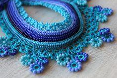 Lobelia Siphilitica ... Beaded Crochet Necklace -  Turquoise Cornflower Blue Indigo - Beadwork Necklace