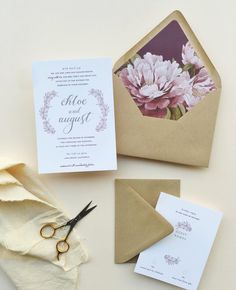 magnolia wedding invitations with custom envelope liners