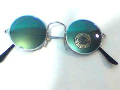 Sonnenbrille, Hippie-Brille, Woodstock-Brille, Kult-Brille in silber/grün