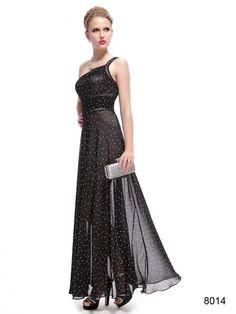 優美なワンショルダーブラック系イブニングロングドレス♪ - ロングドレス・パーティードレスはGN|演奏会や結婚式に大活躍!
