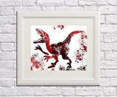 Dinosaur Art Print Raptor Abstract Art Watercolour Splash print Raptor Dinosaur Poster 5077