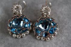 Aquamarine Crystal Earrngs by PiccolinaJewelry on Etsy, $32.00